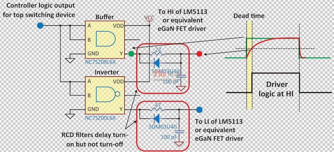 恒定死区时间的简单电路图-如何使用氮化镓第四章 在高频降压转换图片
