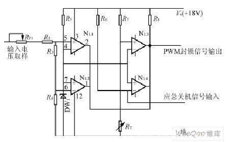 由于4个比较器的输出端是并联的,无论是过压,欠压,过热任何一种故障