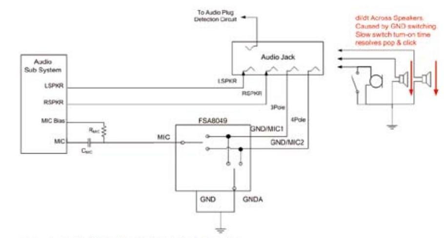 在端子间切换时,如果音频放大器仍处于激活状态并且接地,放大器将产生
