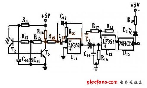 可知,该接收电路在输入光发生变化时,t3 输出信号变化不大.
